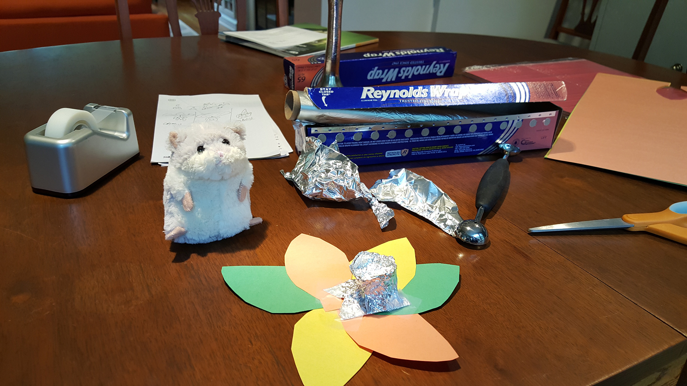 The assignment was to quickly build an initial prototype out of nothing but aluminum foil, tape, and construction paper. A model was selected to represent our user.