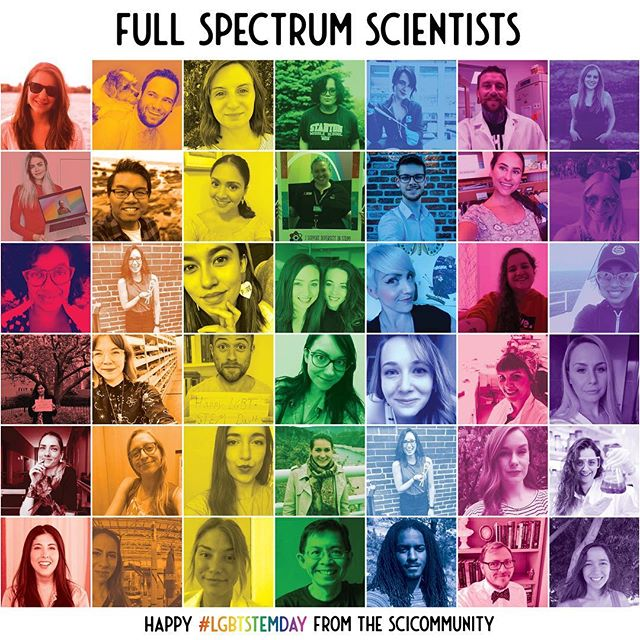 The SciCommunity family celebrates and supports the full spectrum of scientists on the first ever #LGBTStemDay from @prideinstem ! This collage (thanks for making it, @paleoparadox!) represents just a few of the LGBT+ or ally SciCommunity members who support equality and fair treatment for #lgbt+ scientists. When everyone is included in STEM, we all benefit! 🏳️🌈🏳️🌈🏳️🌈 #communication #scicomm #science #pride #scienceforall #truediversity #scicomm #lgbtq #pride2018 #biinsci #rainbow #collage #scientists #featurethechemistry