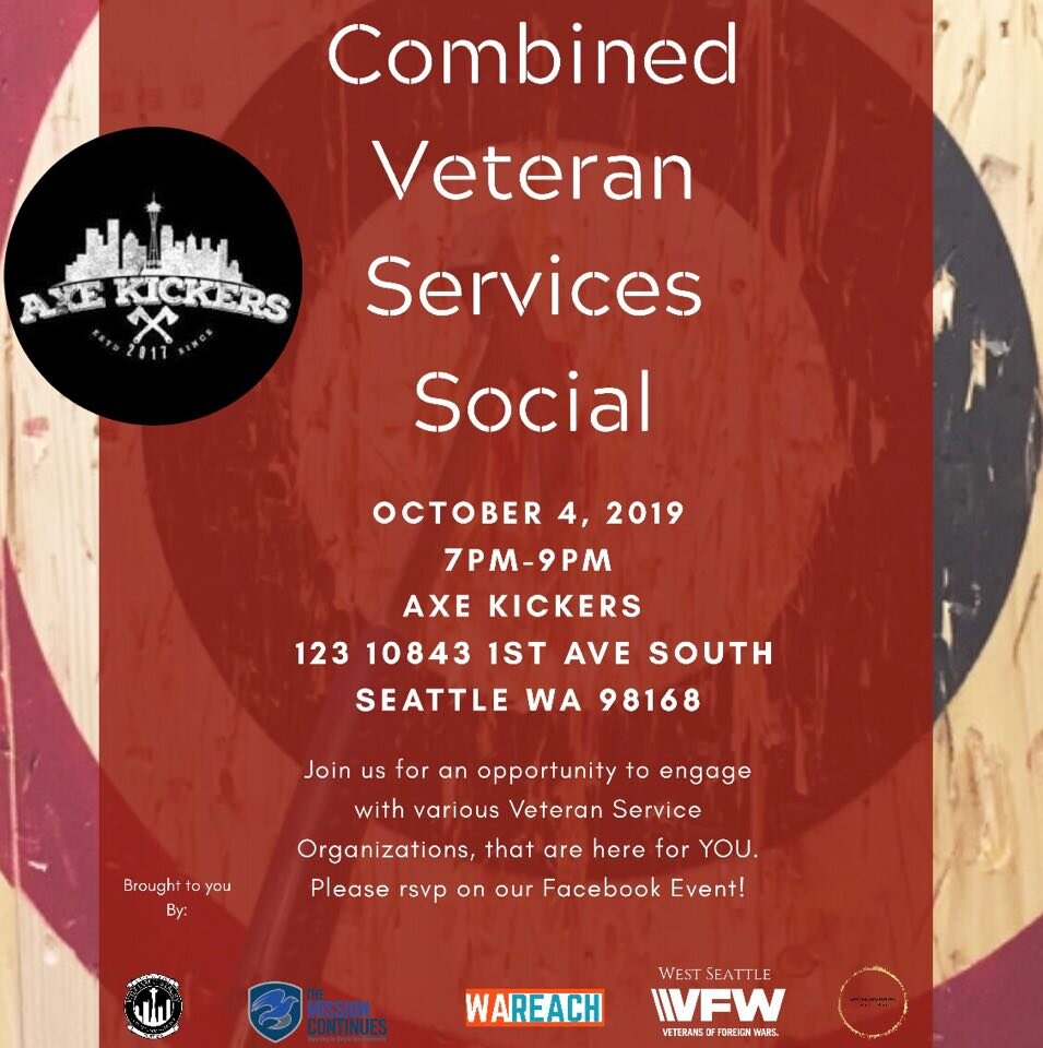 This one is a little different, but hey, so are KIng County Veterans. The greater veteran community are invited to join our combined services social with an ax-throwing team for what some are calling the new bowling. Please    REGISTER    and indicate you are on the VeteranRites team.     FB Event     Brought to you by:  West Seattle VFW The Mission Continues American Legion Post 206 VeteranRites WA Reach