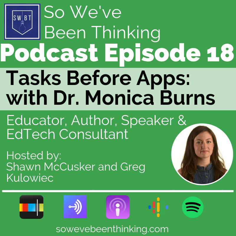 "Episode 18: Monica Burns- Task Before Apps - There is more to educational technology than having the tools and telling students to use them. Being thoughtful about the tasks we have students complete and the proper tools to help them express their learning. Monica Burns shares her expertise on how to prioritize learning and put ""Tasks Before Apps."""