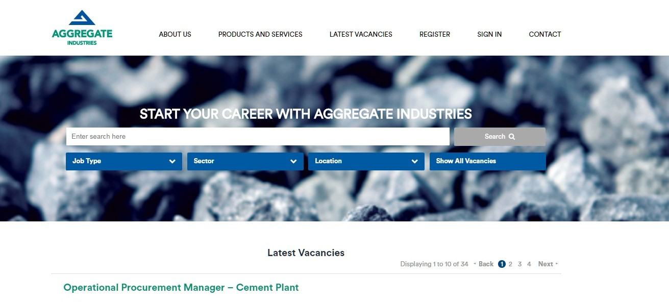 Aggregate Industries - Careers website and ATS