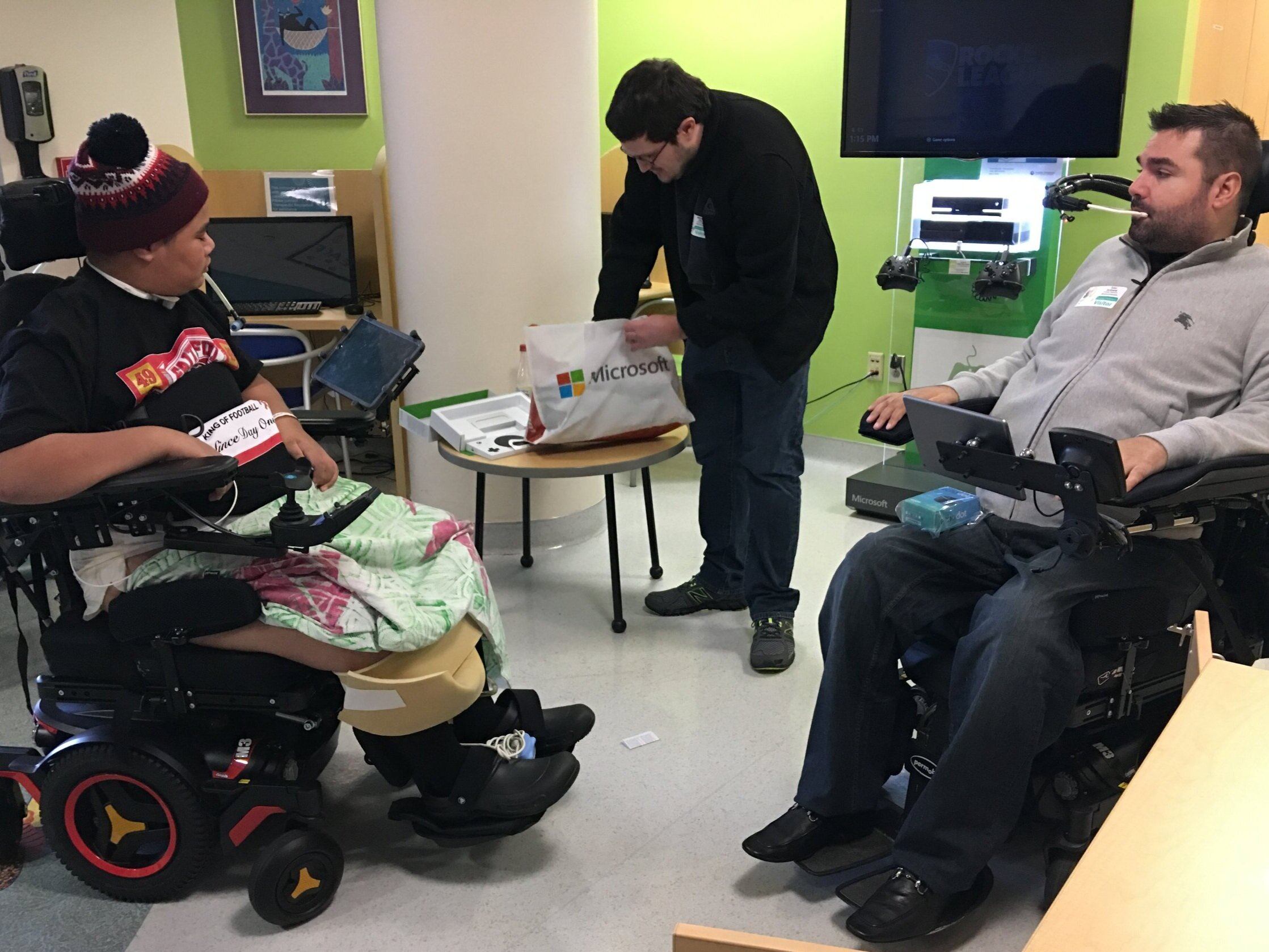 Maui (left), Matt Hite (center), and Tyler Schrenk (right).  Maui was a recipient of TSF's Demonstrating Independence Grant, receiving an Xbox Adaptive Controller that enabled him to continue gaming after his spinal cord injury.  Read more here.
