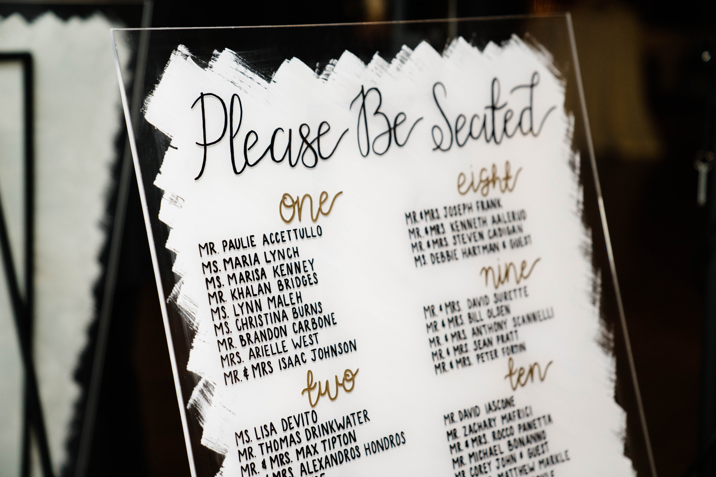 Minimalist Acrylic Seating Chart