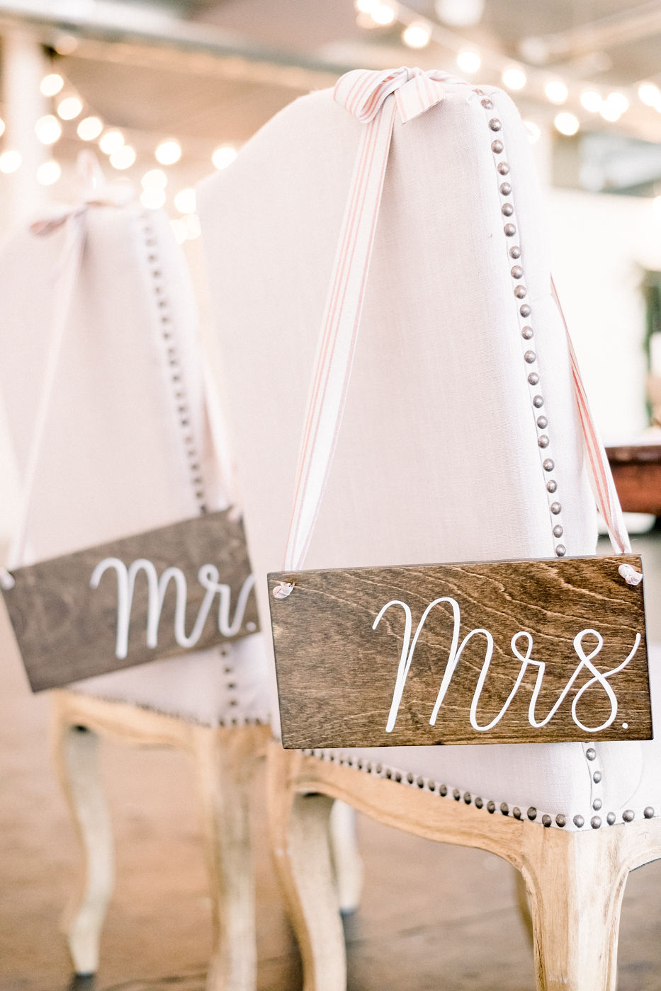 Mr. and Mrs. Rustic Wood Chair Signs
