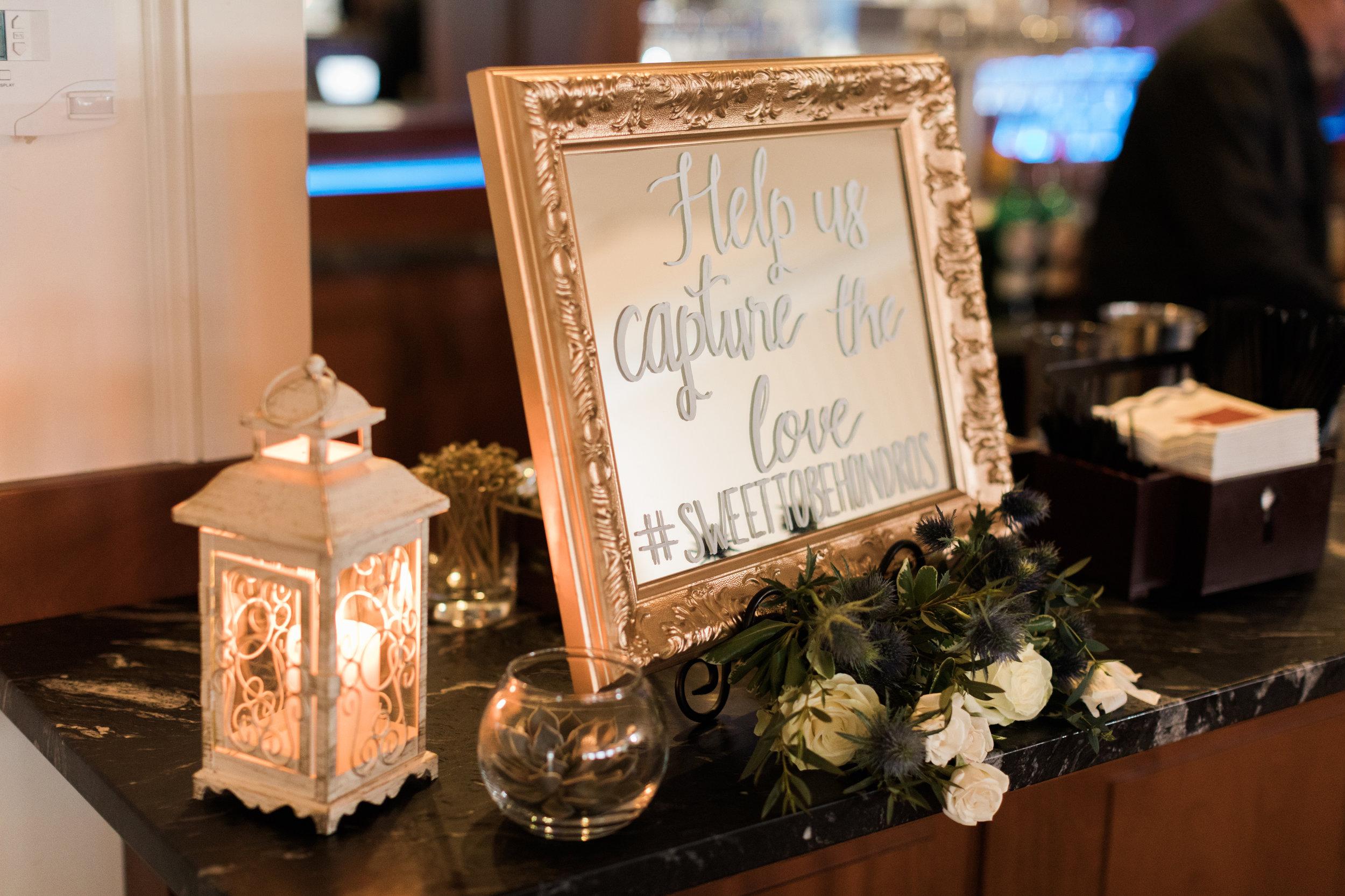 Wedding Hashtag Mirror Sign