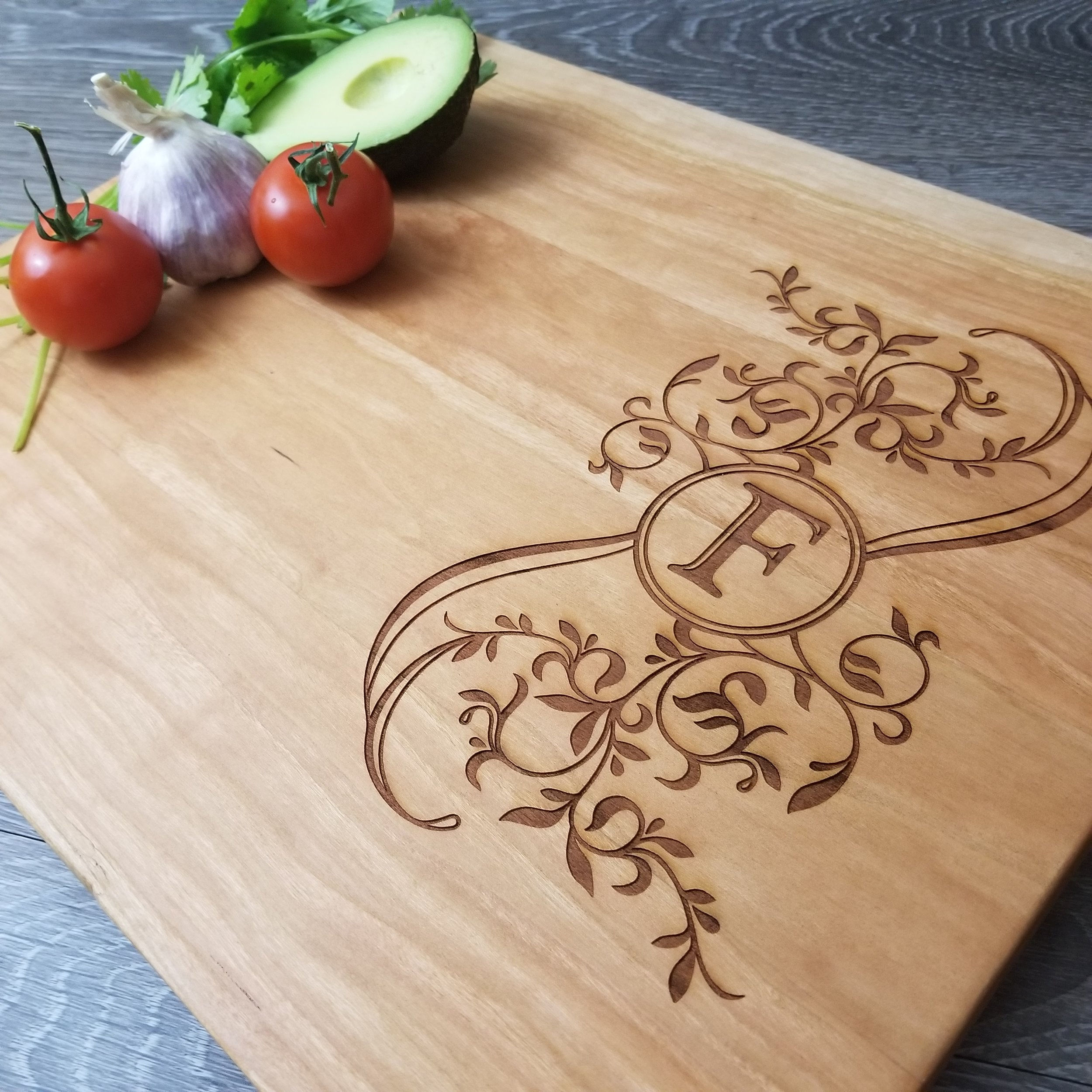 """Personalized Wood Cutting Boards - We've done the work to find the 5 best wood types for cutting boards. Now, all you have to do is choose the one you like best. Our wood cutting boards are available in 2 standard sizes: 12""""x15"""" and 6""""x15"""