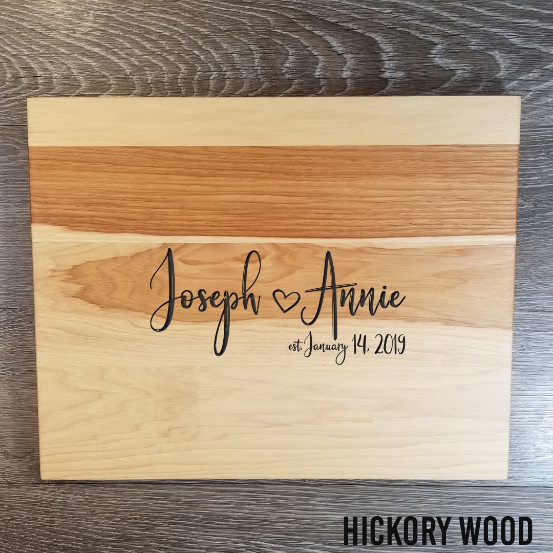 """Hickory WoodCutting Board - $79.9912"""" x 15""""(**orders placed after an item has sold out will be fulfilled once our new inventory arrives. please contact us if you have any questions.)"""