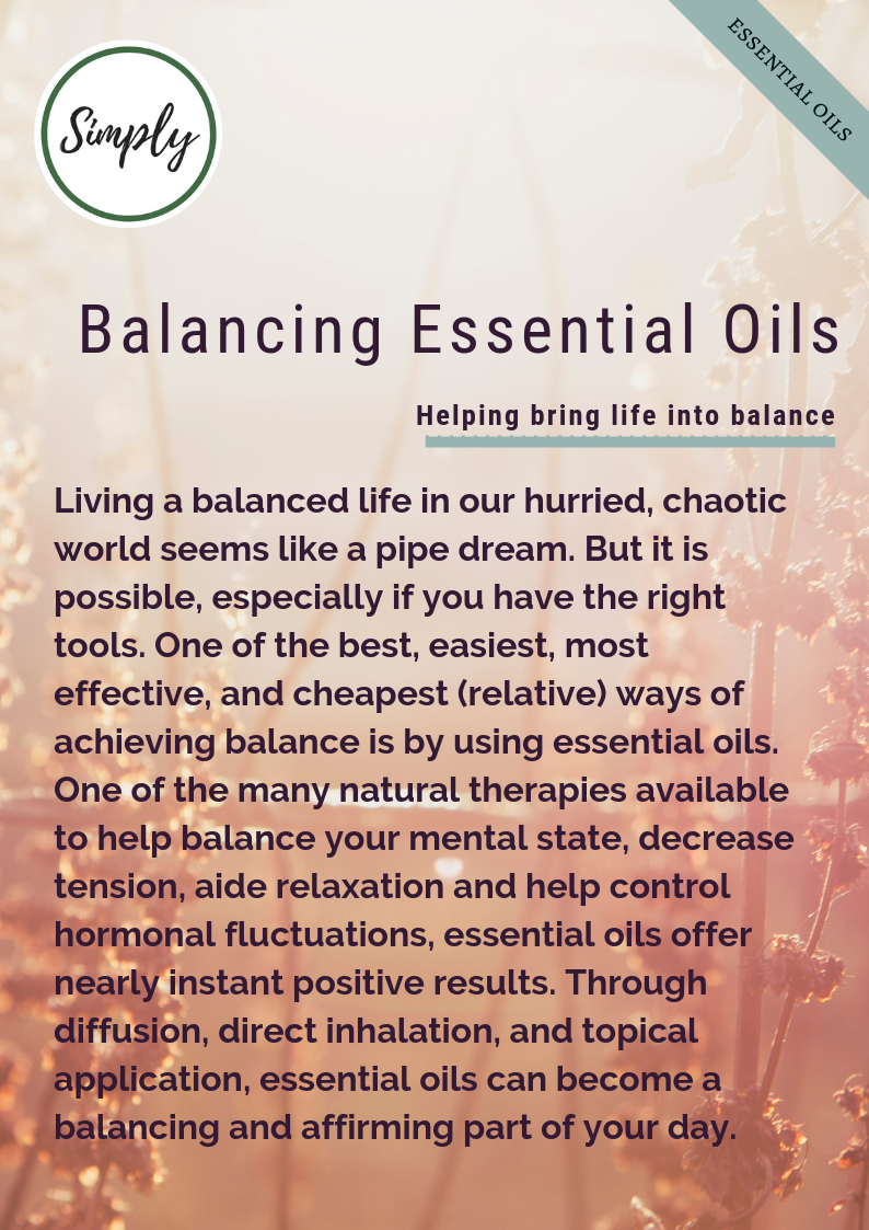 Essential oils for balance, www.alifeleadsimply.com #balance #essentialoils