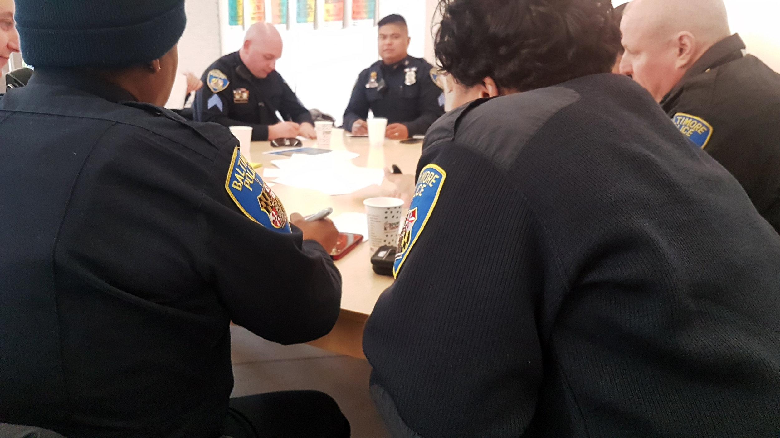 "Sergeants and Lieutenants brainstorming at a ""Best in Blue"" workshop"