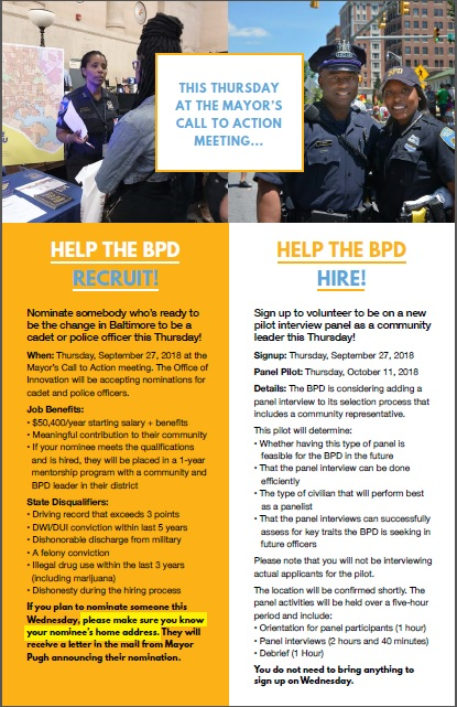 Flyer announcing test of BPD recruitment and hiring initiatives designed for community involvement.