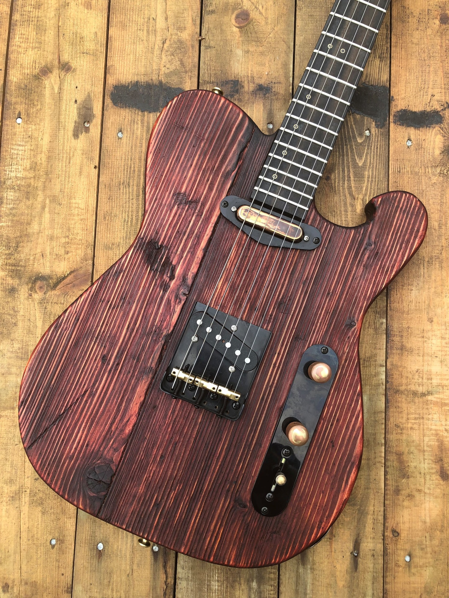 """Custom built RAM t-type """"dante"""" - Reclaimed Norwegian Spruce solid bodyWalnut neck ebony fret boardFuente hand wound single coil pickupsBlack through body bridgeBlack locking tunersCTS pots / out of phase on push/pullMallory Yellow 150 capacitor"""