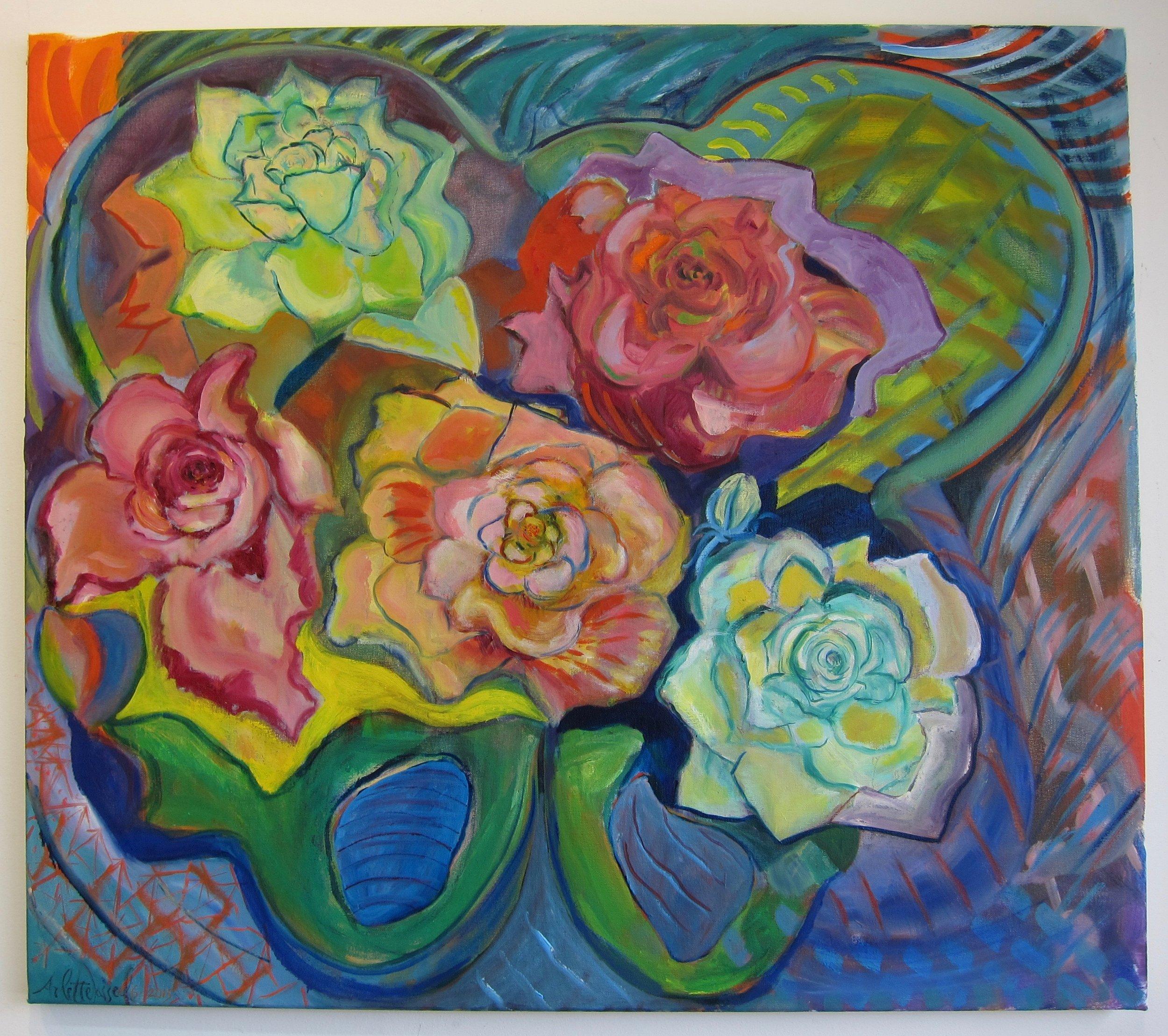 "Five Roses in Pelvis Bone 20""x23"" 2015 oil on canvas  $900"