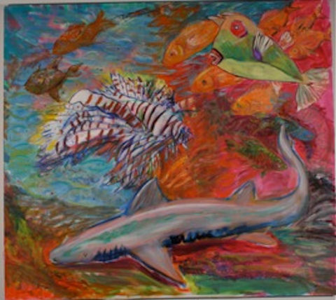 """Nurse Shark, Lionfish, Cowfish and Friends 56""""x50"""" oil on canvas 2008  The ocean is filled with many fish. The cowfish,green with a red eye, has a solid bony body. Its mouth is perpetually open as it is an extension of its bony body plate and it cannot close it. This fish can only swim slowly by using its tiny fins.  The cowfish is an ancient fish that has existed for many thousands of years before man appeared and it has horns on its head.  The lionfish is very fearsome with its spiny poisonous barbs. It eats everything in its way.The nurse shark sleeps peacefully. It is one of the few sharks that can breath without moving constantly. The other sharks must have a constant flow of water though their gills to maintain the level of oxygen they need."""
