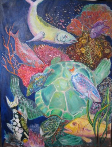 """19th Century Reef 58""""x44"""" oil on canvas 2008  giclee prints available from $200"""