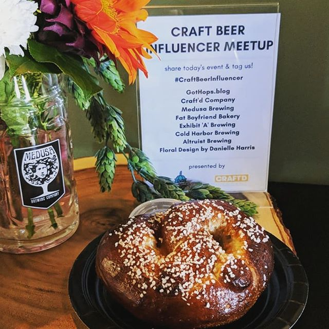 We're enjoying some #craftbeer & #softpretzels @medusabrewing for the @craftdcompany / @gothops.blog #craftbeerinfluencer event! 🥨🍺 #craftbeer #craftfood #pretzelsandpints #pretzel #nowserving #drinklocal #eatlocal #bakery #bakerylife #drinkcraftbeer #meetup