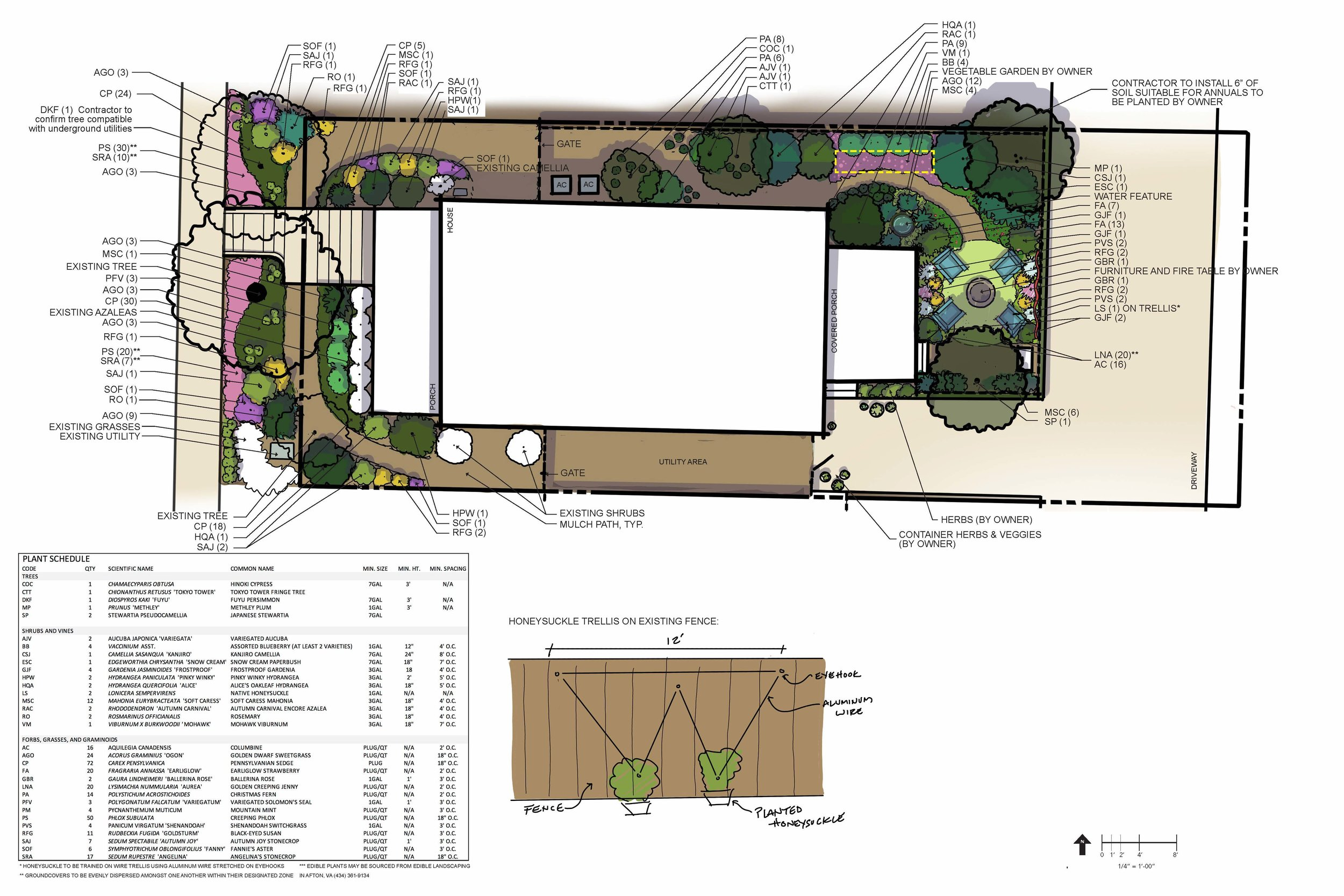 Residential landscape plan seeking to maximize opportunities for outdoor lounging where impervious surface limitations prevent the development of a hard-surfaced or gravel patio. Edible plants are interwoven into the design to allow for browsing while pollinator and bird-friendly plants ensure the space is popular with client-targeted species of wildlife.