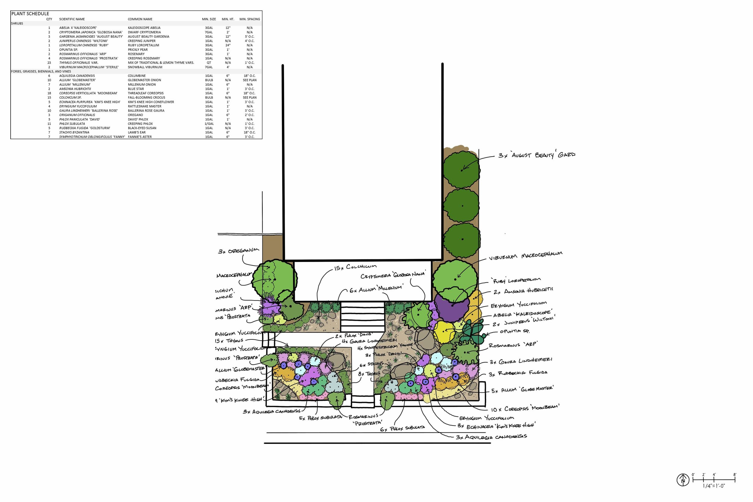 Featured above is a residential landscape design seeking to create a social space in the front yard to provide opportunities for neighbor engagement and to challenge the convention that recreation is more appropriate for the backyard. Edible plants mingle with historically native, pollinator and bird-friendly plants to bring neighbors of many species to the landscape. Boulders create opportunities for sitting and chatting with folks on the sidewalk, and the use of gravel instead of turf creates a significantly less expensive and more straightforward landscape to manage.