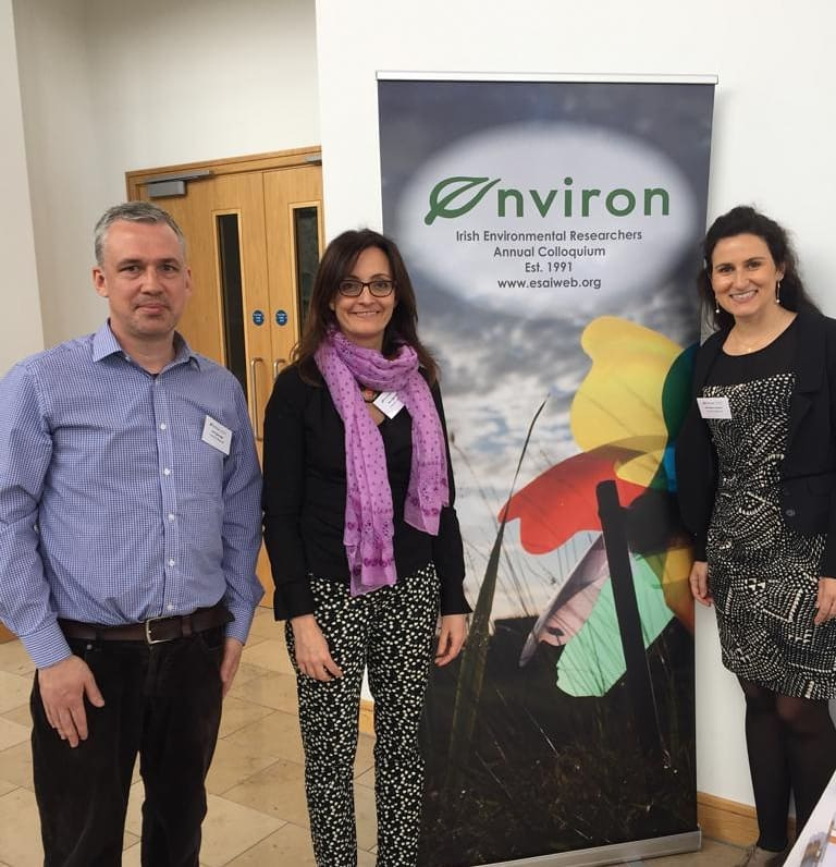 PhD Students Fergal Gough, Angela Nagle and Heloisa Lemmertz (left to right) at Environ 2019