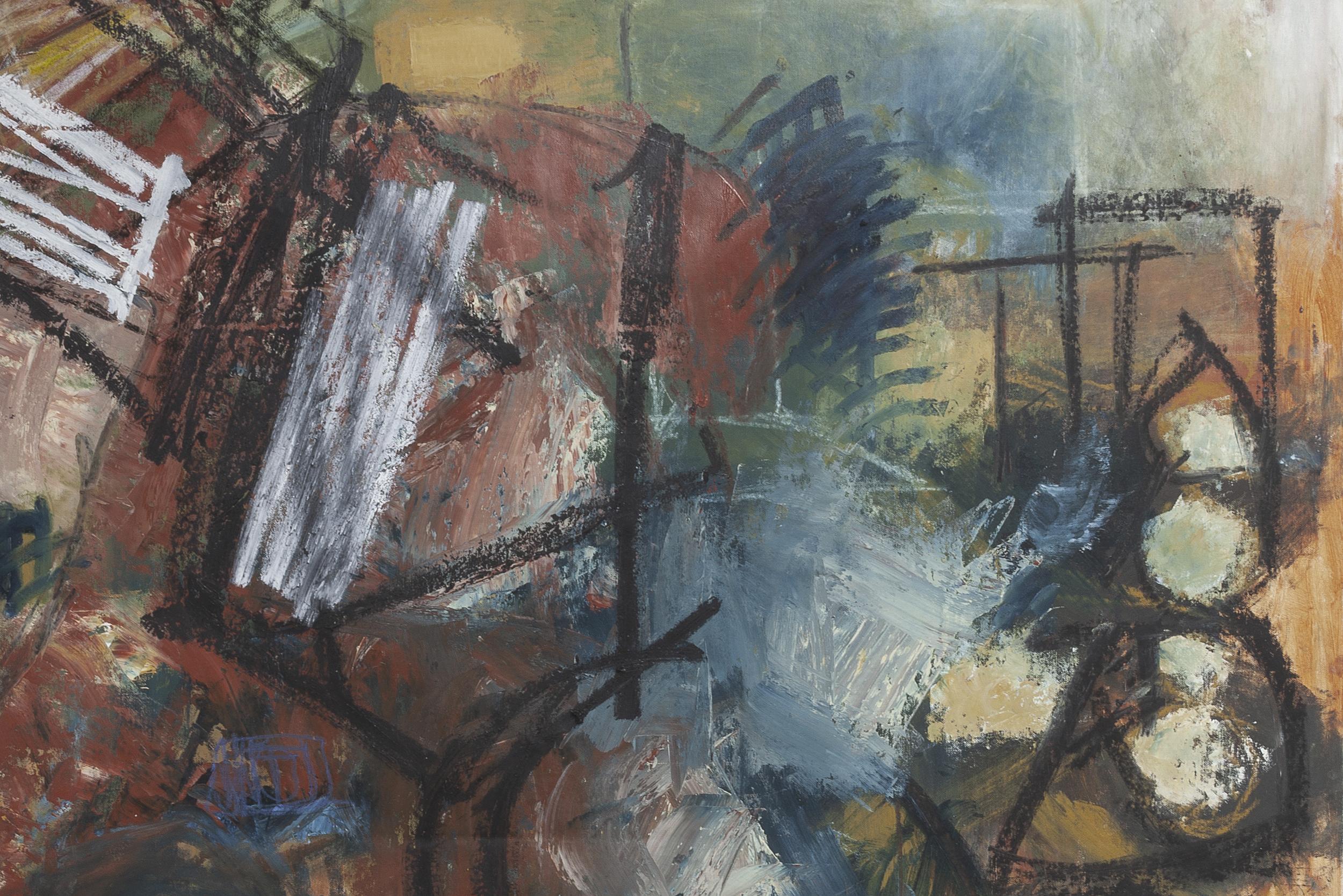 Oil, oil bar, spray enamel on canvas © Mary Crenshaw