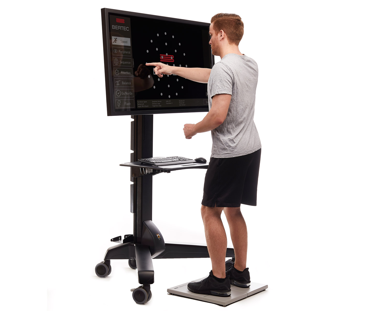Vision Trainer - The Bertec Vision Trainer (BVT) offers performance testing and training programs to quantify reaction times, eye-hand coordination, and visual memory. Impairments in these areas can compromise one's ability to drive, play sports, or even write. Features in the BVT allow for customization of many variables to customize training: number of targets, size of targets, speed of targets, and dynamic visual backgrounds.Learn More