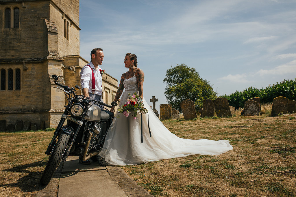 Just married with motorbike