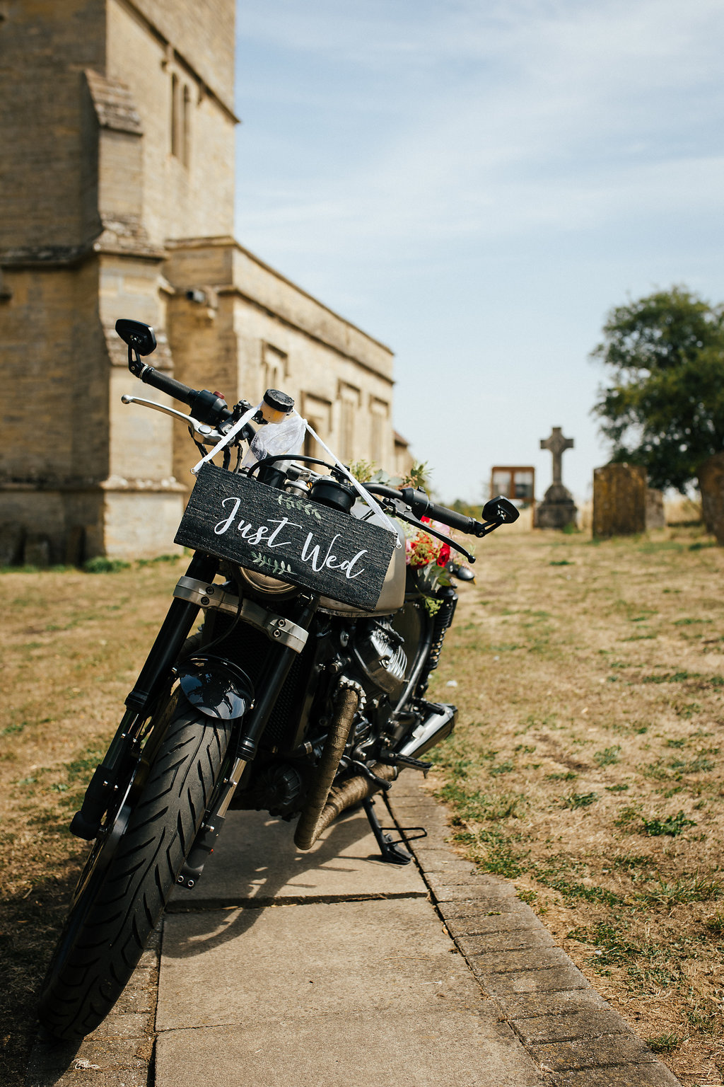 Vintage wedding motorbike