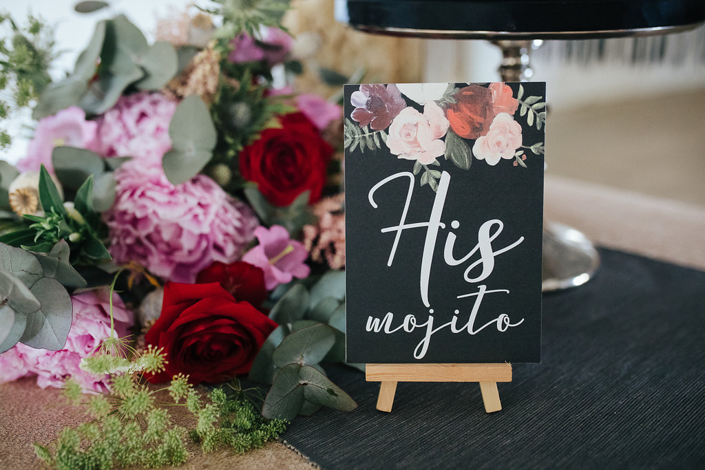 Black, red and pink floral wedding stationery