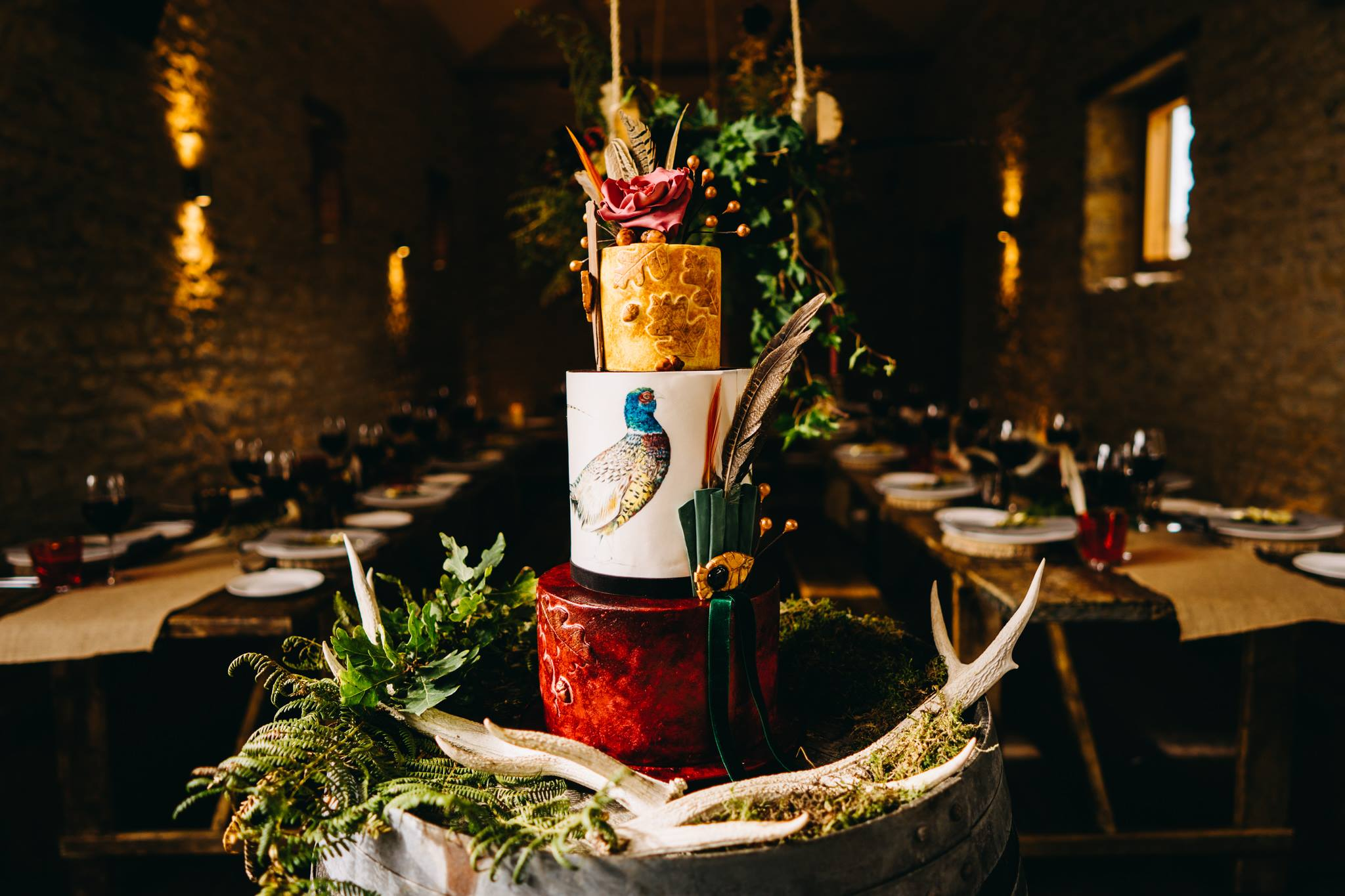 Countryside hunting themed wedding cake with pheasant