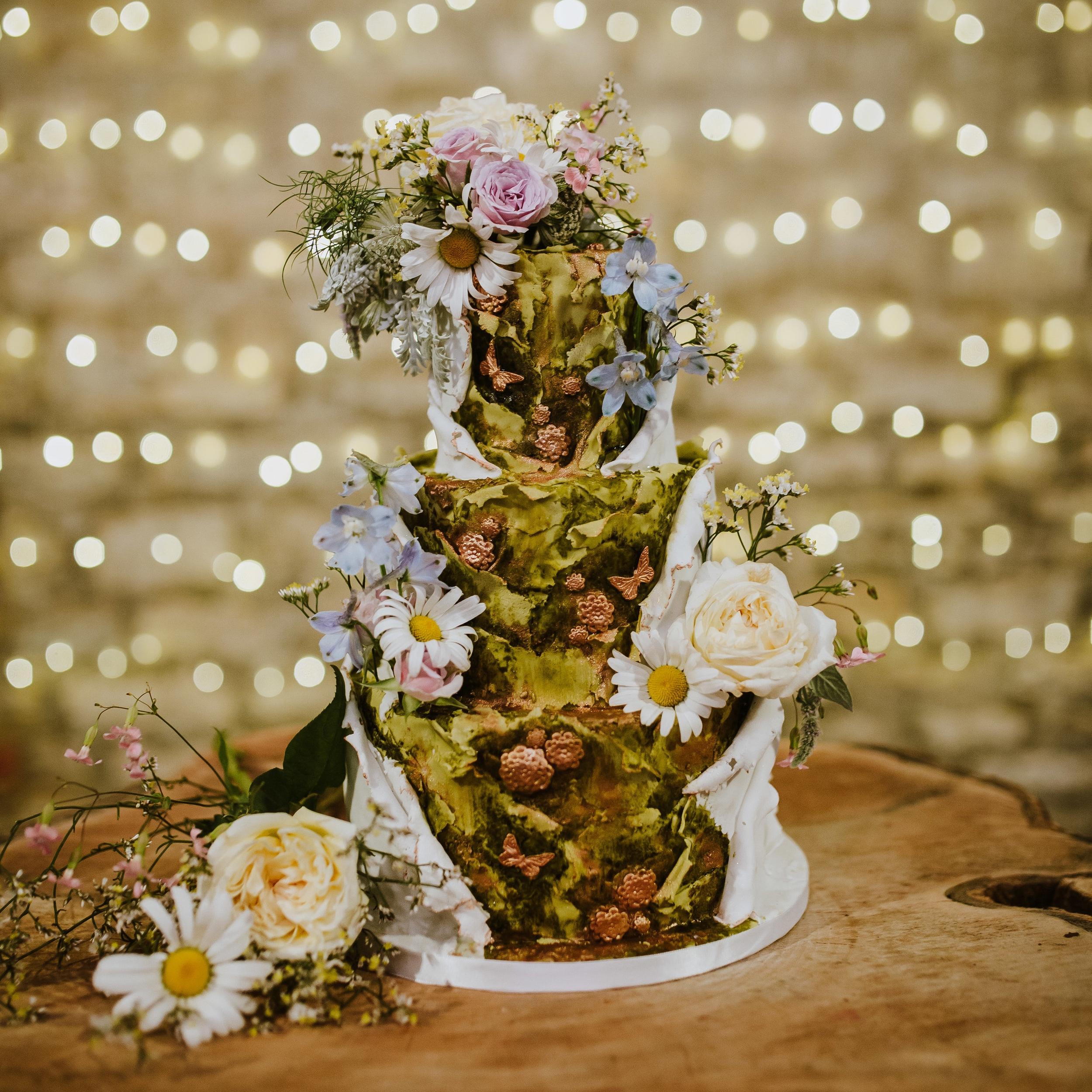 Secret garden woodland wedding cake