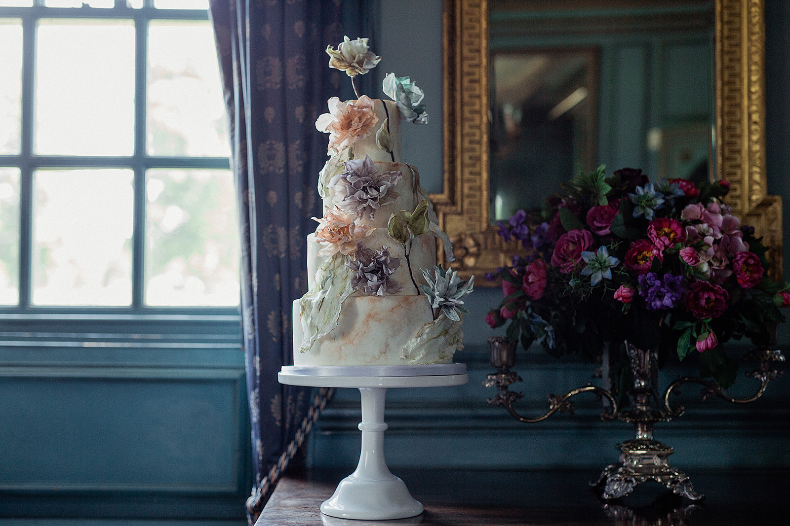Wafer paper flower wedding cake green and gold in turquoise room.jpg