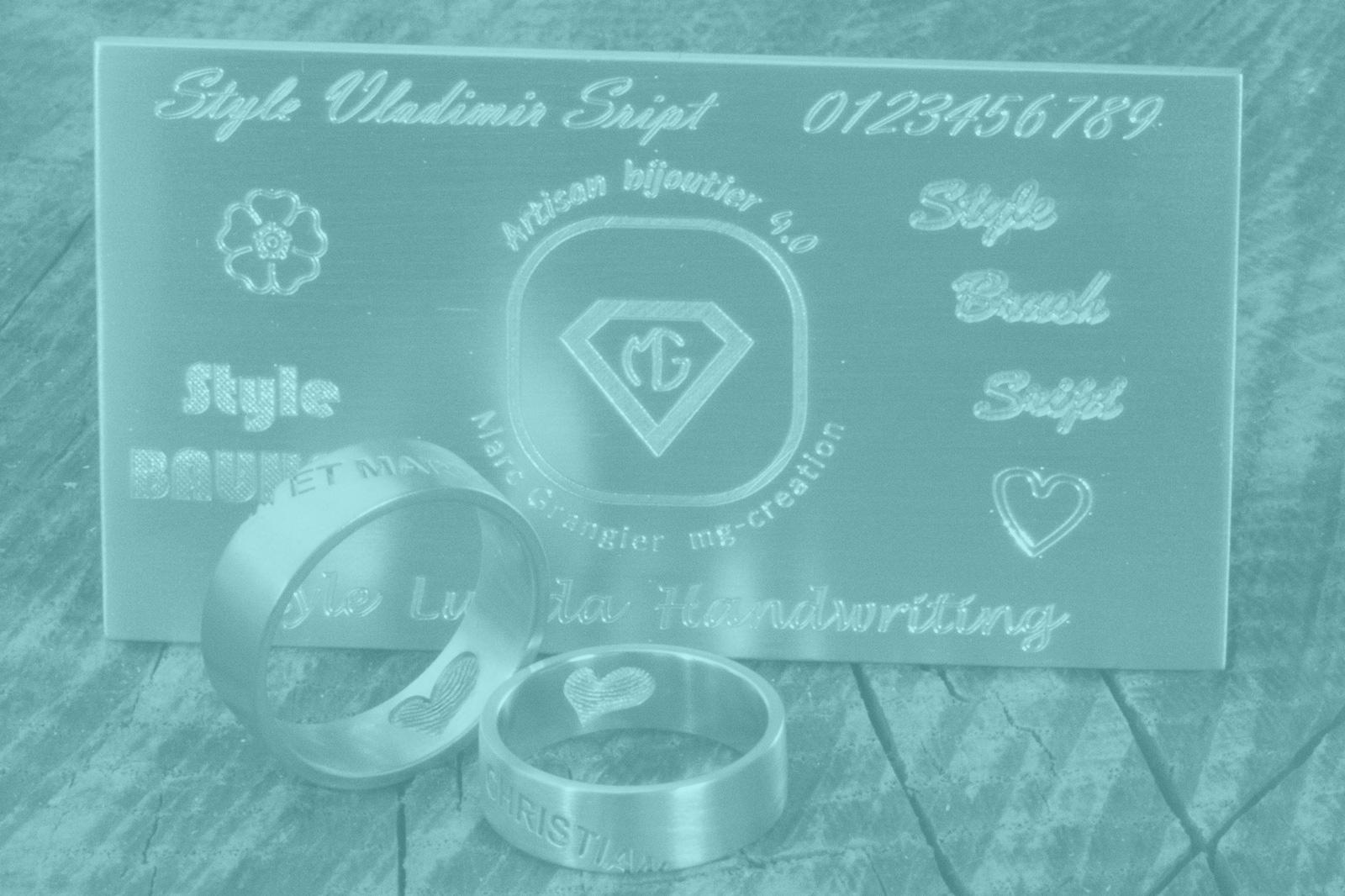 Faites graver vos bijoux - Texte / Ecriture manuscrite / Logo / Empreintes