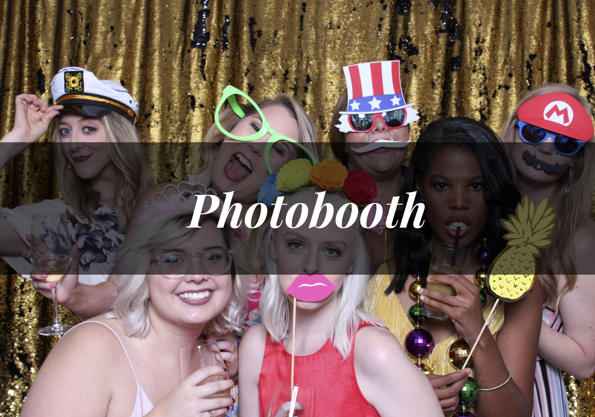 Photo Booth Packages include a custom photo booth template, backdrops, props, available prints, and access to the online gallery.