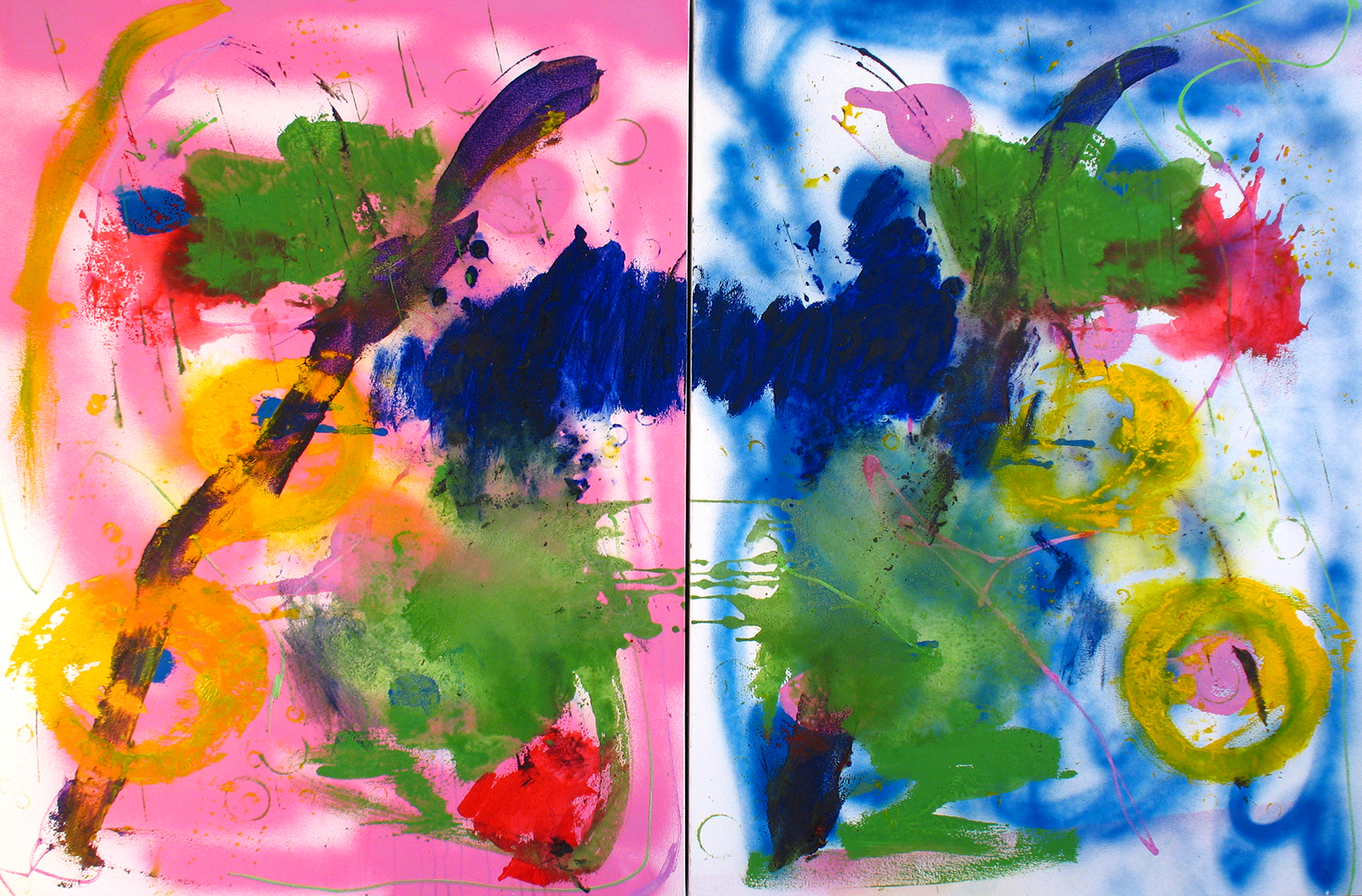 "Jeff Ostergren,  Split Screen  - Oil Paint, Acrylic, Birth Control, Enamel, Flashe, Gouache, Green Superfood, Luvox, Mirapex, Blkwater Energy Drink, Purell Hand Sanitizer, Sea Salt, Scope, Sharpie Oil Markers, and Viagra on two canvases - 40"" x 60"" - 2017."