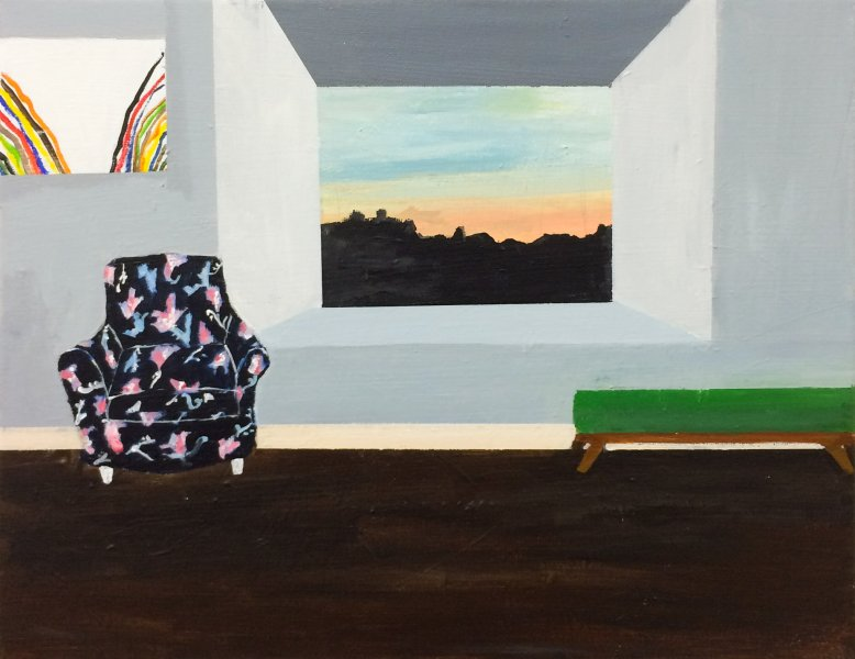 "Polly Shindler,  Living Room at Sunset with Morris Louis,  2018, Acrylic on canvas 11"" x 14"""