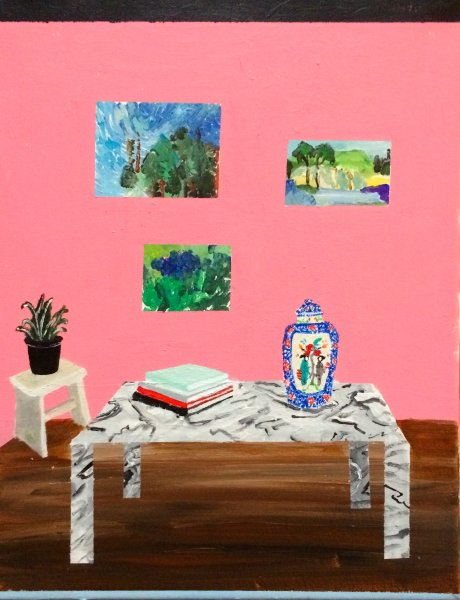 "Polly Shindler,  Pink Room with Marble Table , 2018, acrylic on canvas 11"" x 14"""