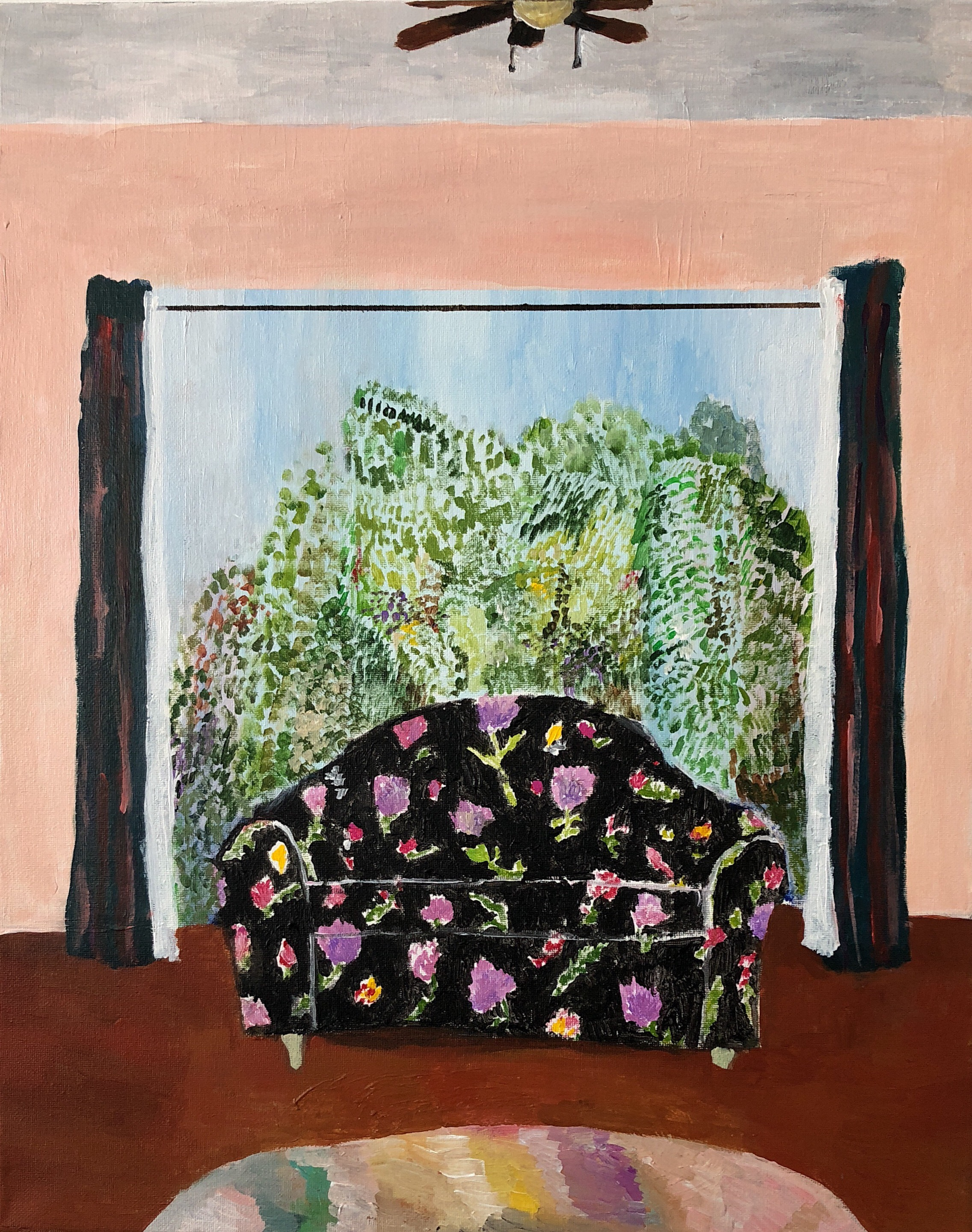 "Polly Shindler, Black Floral Couch with Ceiling Fan, 2018, acrylic on canvas, 20"" x 16"""