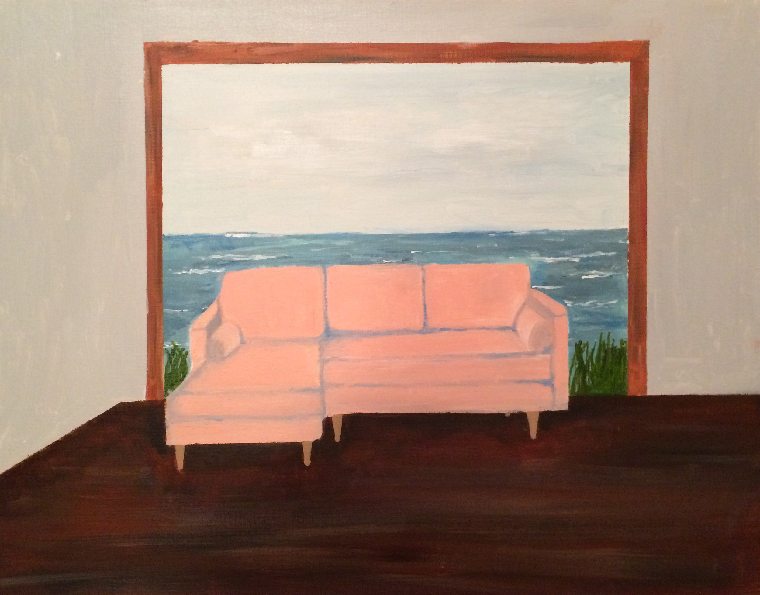 "Polly Shindler,  Pink Couch on the Ocean,  2018, acrylic on canvas, 16"" x 20"""