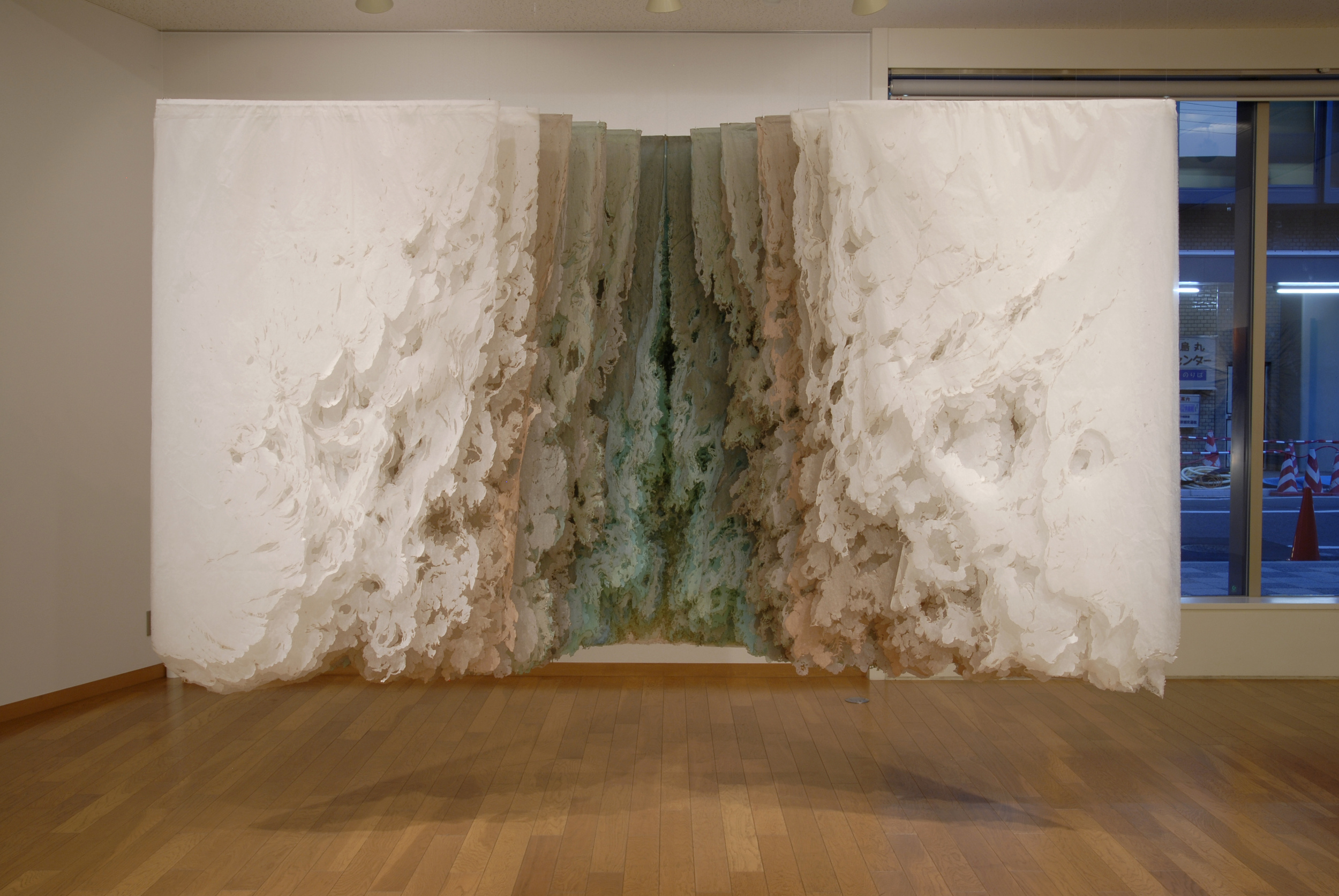 Julie Pereira,  Floating Wall Oxidizing Copper.