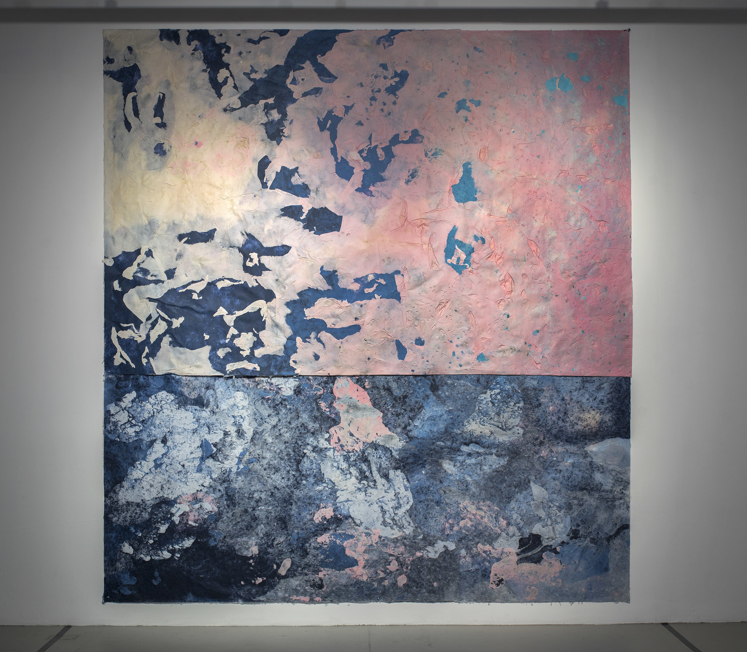 "Hong Hong,  Composition for the Long Way Home , 144"" x 144"", kozo, dust, pollen, sun, water, fiber-reactive dyes, 2017."