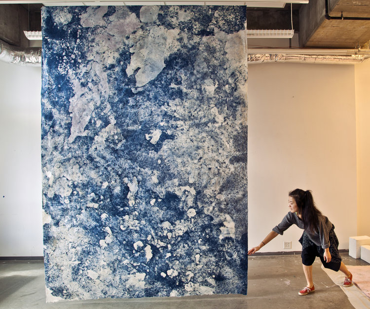 "Hong Hong,  Blue Avalanche , 32"" x 84"", kozo, sun, dust, pollen, water, repurposed paper, fiber-reactive dyes, 2014."
