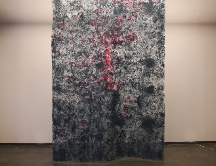 "Hong Hong,  Swamp Garnet , 144"" x 96"", kozo, sun, dust, pollen, water, repurposed paper, fiber-reactive dyes, 2016."