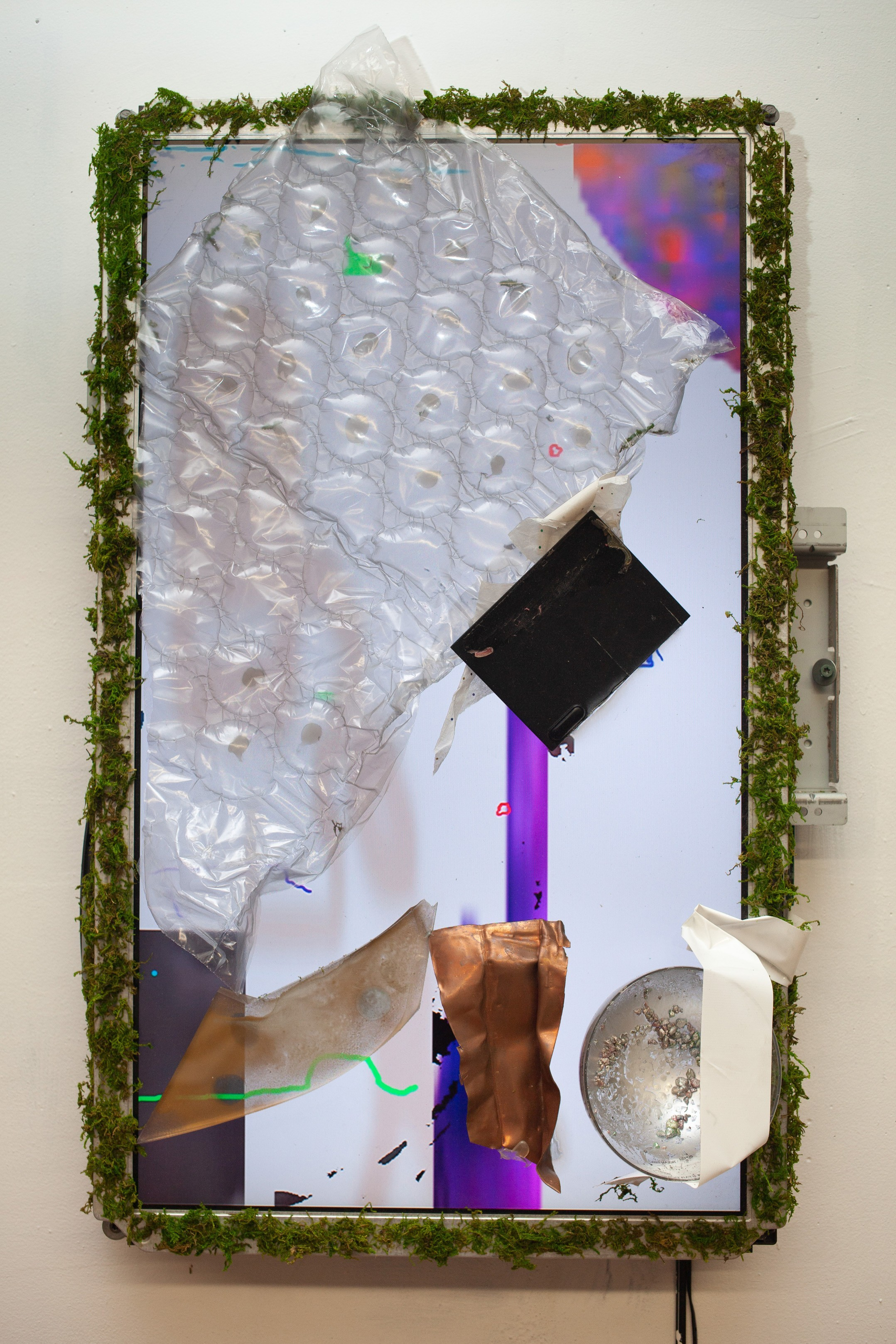 Videopainting 3 , 2019, LCD monitor with found objects, 18 x 30 IN.