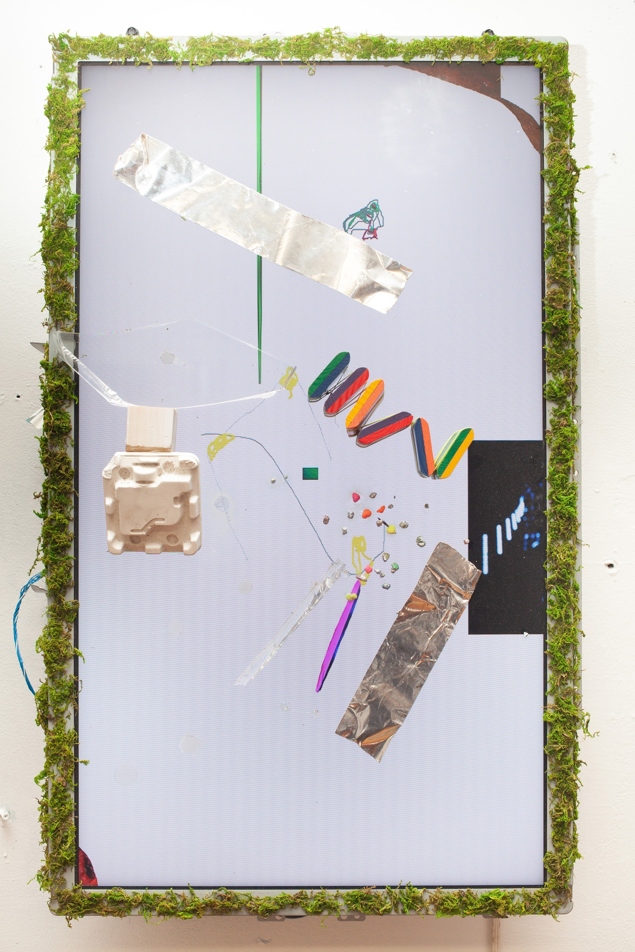 Videopainting 4 , 2019, LCD monitor with found objects, 18 x 30 IN.