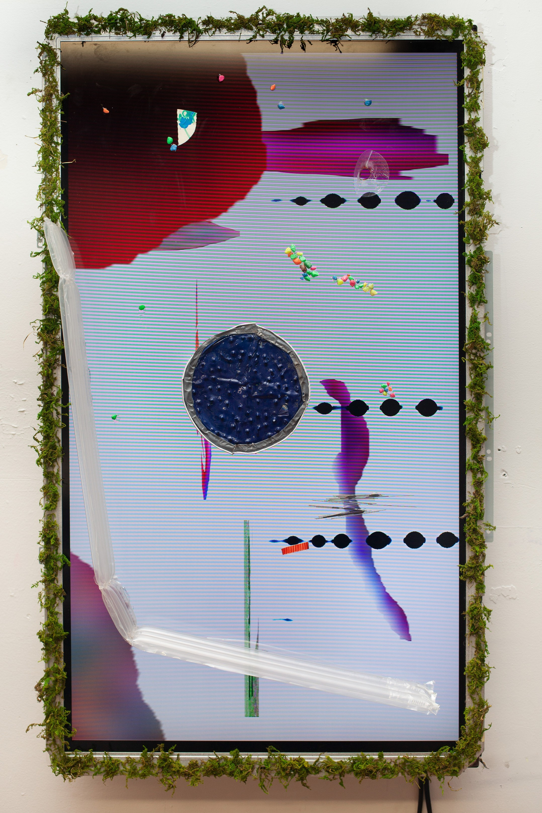 Videopainting 5 , 2019, LCD monitor with found objects, 18 x 30 IN.