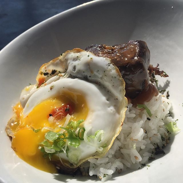 We've gone LOCO 🤪 with our new Loco Moco breakfast! Tender short rib sits on top of fluffy rice, then gets smothered in bacon gravy and topped with a gooey egg 🤤 Available very day til 2pm.  #foodie #food #eatlocal #drinklocal #california #pacificbeach #eggfast #breakfast