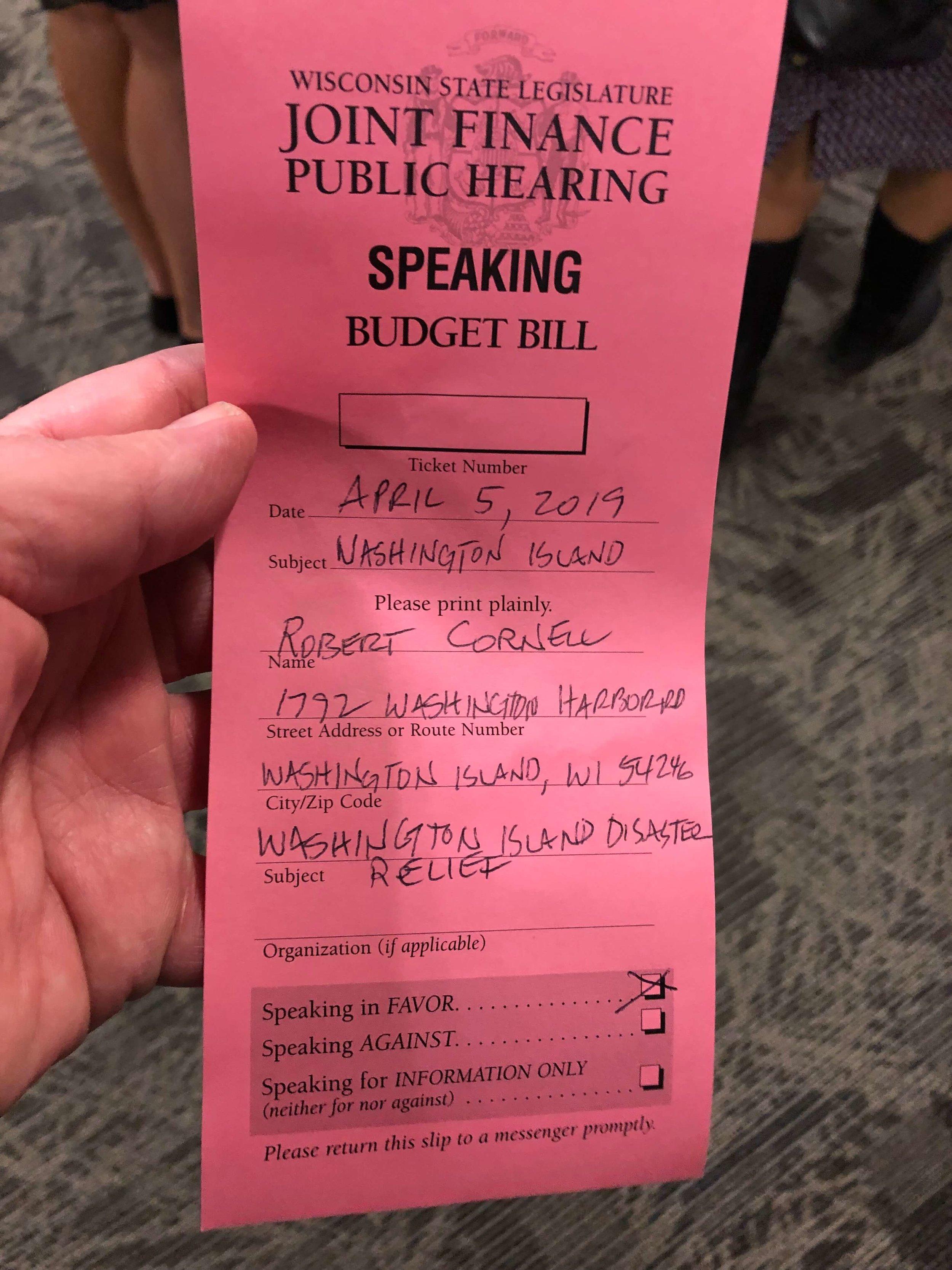 Janesville Hearing Speak Request