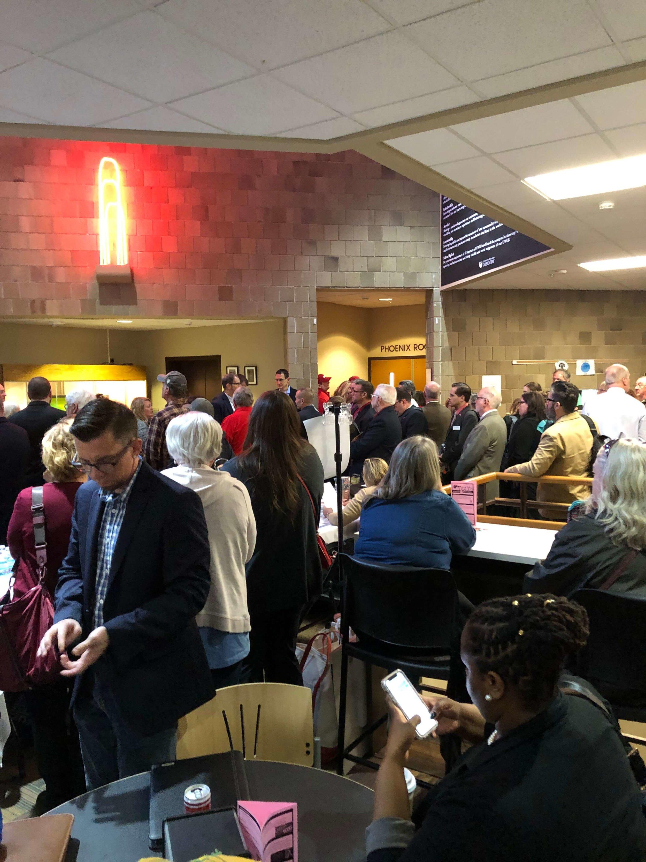 Crowd Waiting to Testify Green Bay Hearing