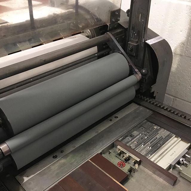 We've been printing in Cool Grey 11 this weekend for the first colour for some two-colour wedding invitations. We're also feeling super grateful for the tapes and tower on the Vandercook as these allow us to print on thicker stocks while also ensuring great registration. #draysonandstock #letterpress #vandercook #wedding #process #print #printing #weddinginvitation