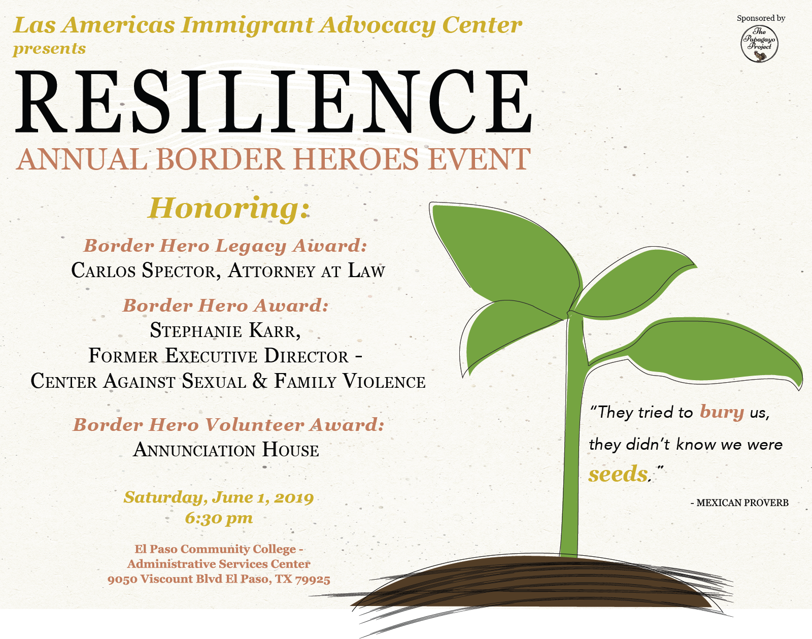 BORDER HEROES - Border Heroes is Las Americas Immigrant Advocacy Center's largest fundraiser of the year, and honors exceptional advocates in the El Paso border community.