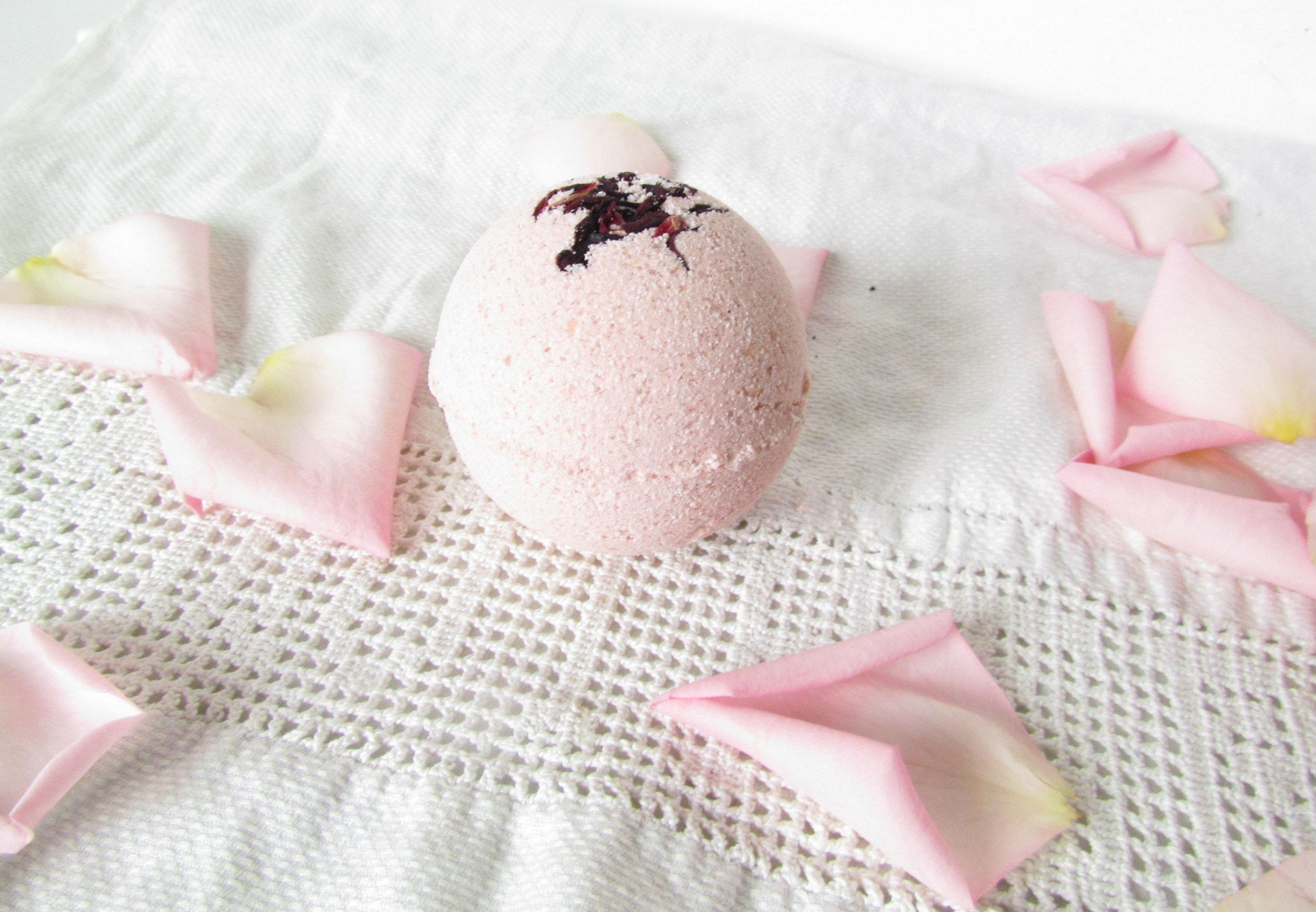Soothing Rose Hibiscus Sheep Milk Bath Fizzie.jpg